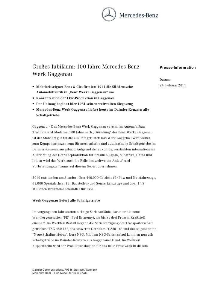 Großes Jubiläum: 100 Jahre Mercedes-Benz                                          Presse-InformationWerk Gaggenau         ...