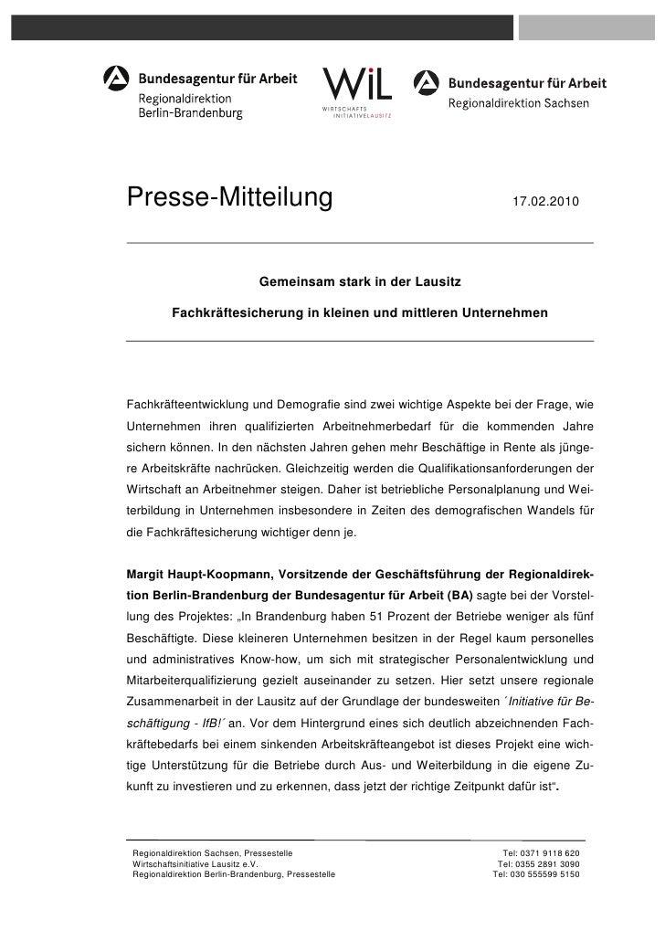 Presse-Mitteilung                                                         17.02.2010                                Gemein...