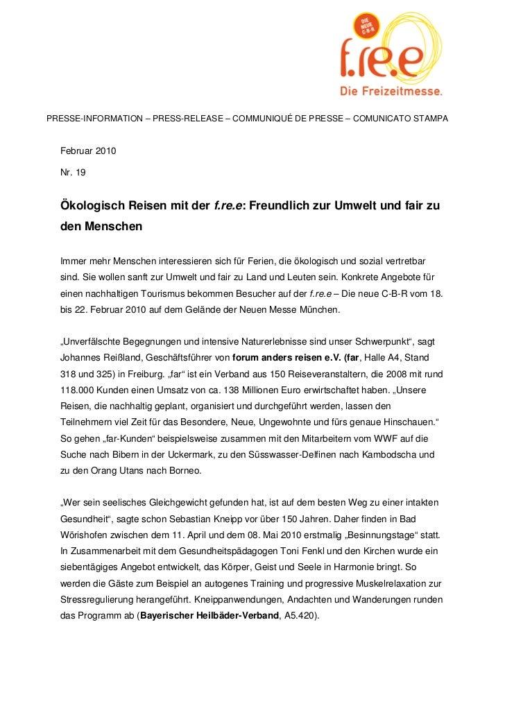 PRESSE-INFORMATION – PRESS-RELEASE – COMMUNIQUÉ DE PRESSE – COMUNICATO STAMPA  Februar 2010  Nr. 19  Ökologisch Reisen mit...