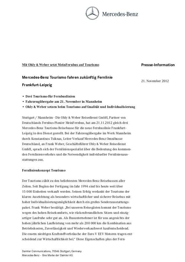 Mit Ohly & Weber setzt MeinFernbus auf Tourismo                               Presse-InformationMercedes-Benz Tourismo fah...