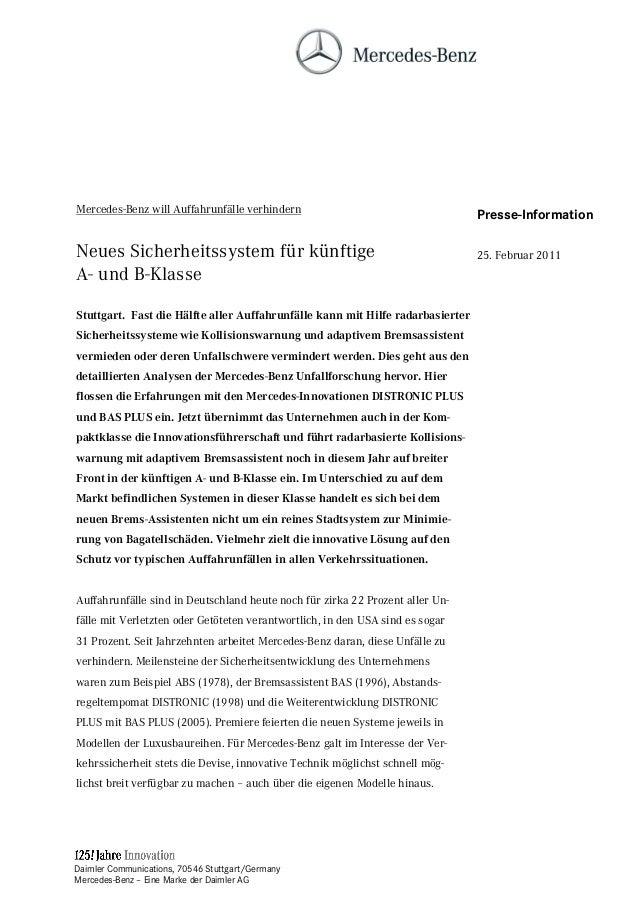 Daimler Communications, 70546 Stuttgart/Germany Mercedes-Benz – Eine Marke der Daimler AG Mercedes-Benz will Auffahrunfäll...