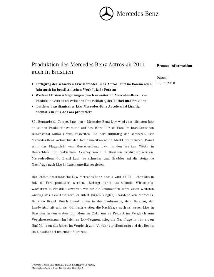 Produktion des Mercedes-Benz Actros ab 2011                                     Presse-Informationauch in Brasilien       ...