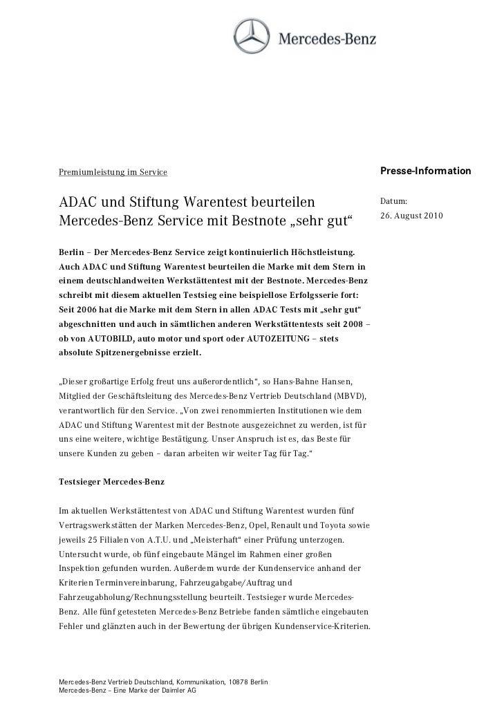 Premiumleistung im Service                                                       Presse-InformationADAC und Stiftung Waren...