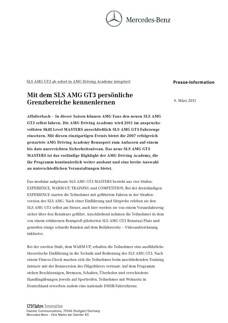 SLS AMG GT3 ab sofort in AMG Driving Academy integriert                         Presse-InformationMit dem SLS AMG GT3 pers...
