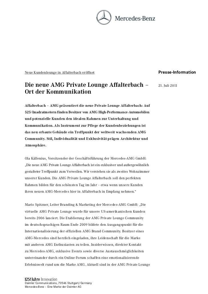 Neue Kundenlounge in Affalterbach eröffnet                                         Presse-InformationDie neue AMG Private ...