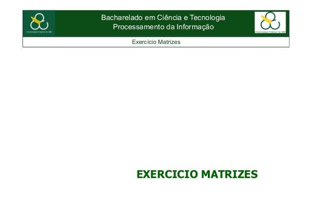 Bacharelado em Ciência e TecnologiaProcessamento da InformaçãoExercício MatrizesEXERCICIO MATRIZES