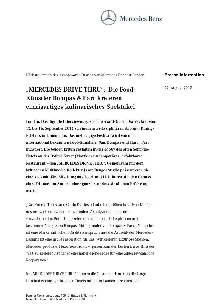 Nächste Station der Avant/Garde Diaries von Mercedes-Benz ist London           Presse-Information                         ...
