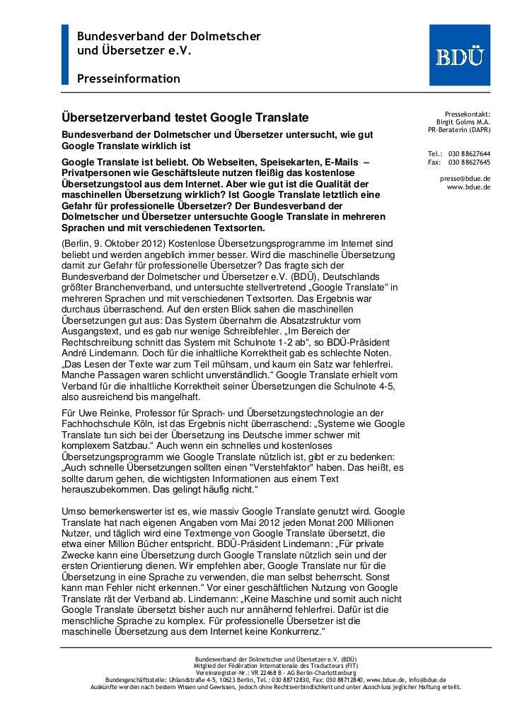 Bundesverband der Dolmetscher   und Übersetzer e.V.   Presseinformation                                                   ...