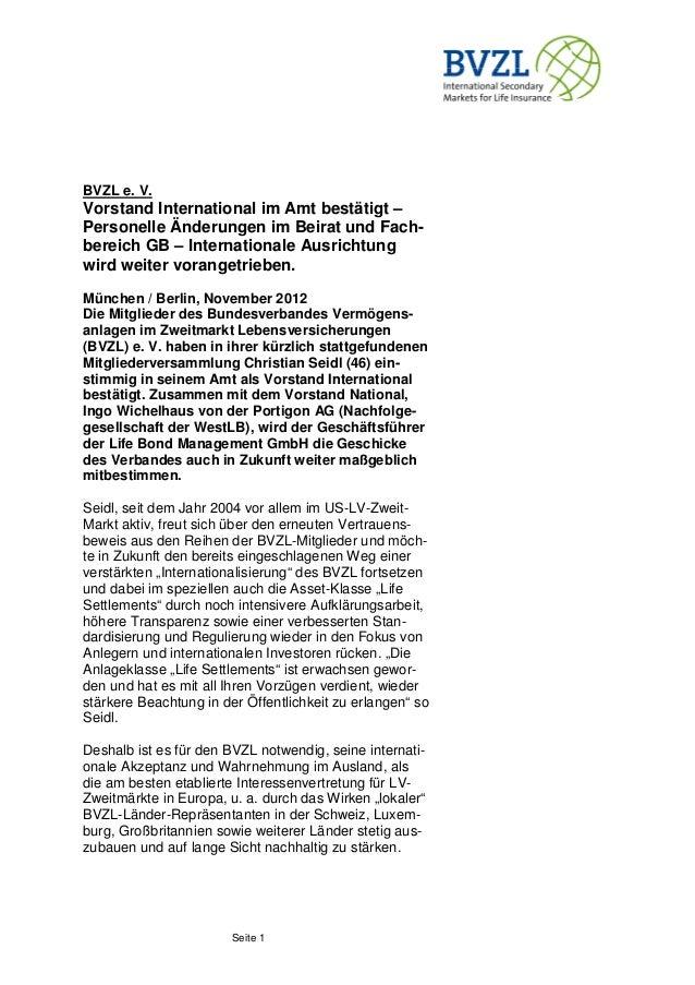 BVZL e. V.Vorstand International im Amt bestätigt –Personelle Änderungen im Beirat und Fach-bereich GB – Internationale Au...