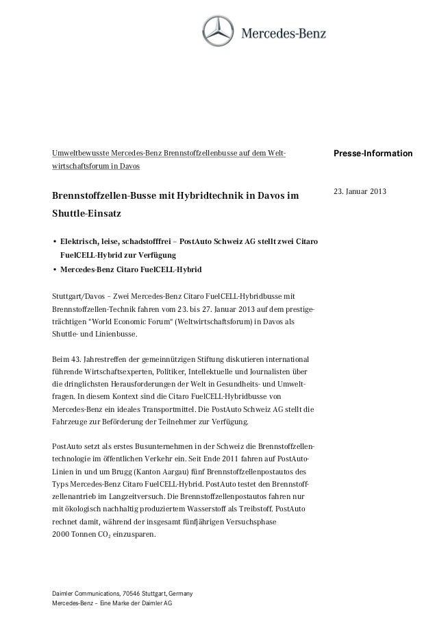Umweltbewusste Mercedes-Benz Brennstoffzellenbusse auf dem Welt-                Presse-Informationwirtschaftsforum in Davo...