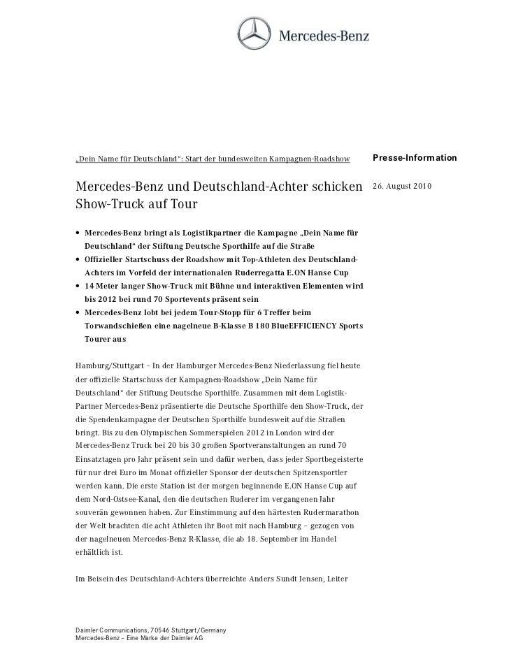 """""""Dein Name für Deutschland"""": Start der bundesweiten Kampagnen-Roadshow             Presse-InformationMercedes-Benz und Deu..."""