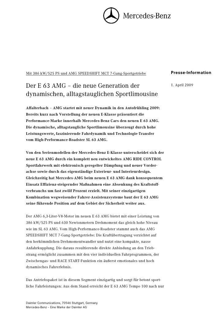Mit 386 kW/525 PS und AMG SPEEDSHIFT MCT 7-Gang-Sportgetriebe                      Presse-Information                     ...