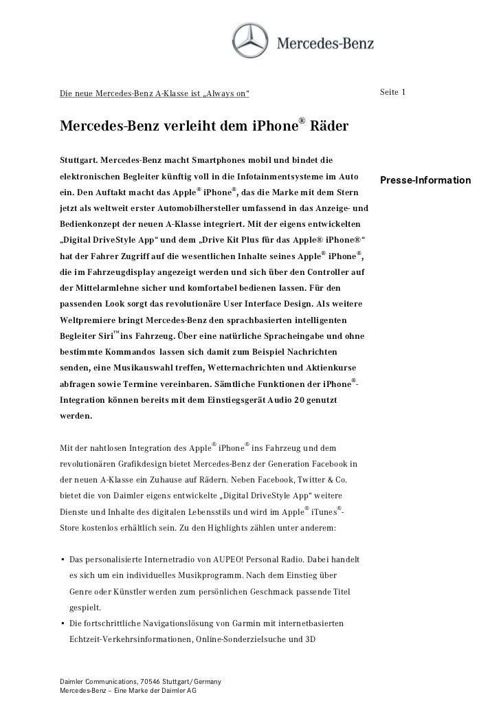 """Die neue Mercedes-Benz A-Klasse ist """"Always on""""                                Seite 1Mercedes-Benz verleiht dem iPhone® R..."""