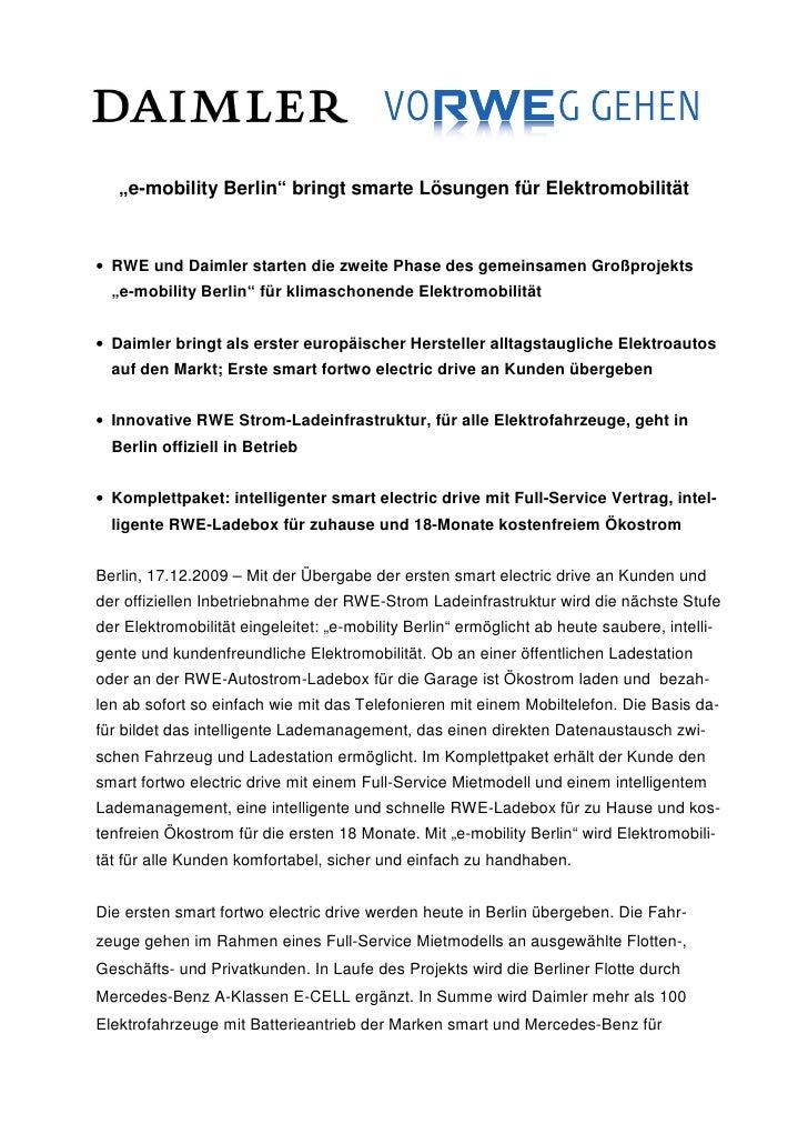 """""""e-mobility Berlin"""" bringt smarte Lösungen für Elektromobilität• RWE und Daimler starten die zweite Phase des gemeinsamen ..."""