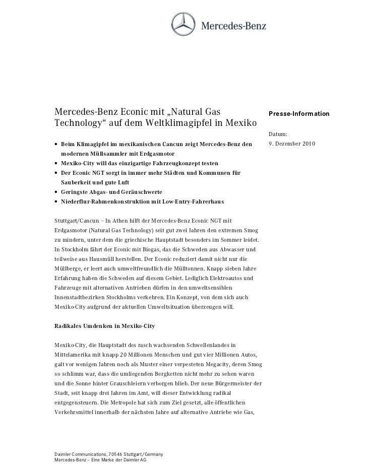 """Mercedes-Benz Econic mit """"Natural Gas                                            Presse-InformationTechnology"""" auf dem Wel..."""