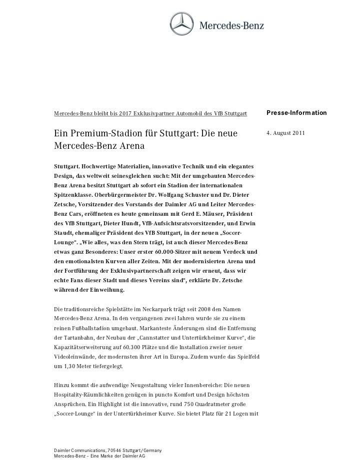 Mercedes-Benz bleibt bis 2017 Exklusivpartner Automobil des VfB Stuttgart         Presse-InformationEin Premium-Stadion fü...