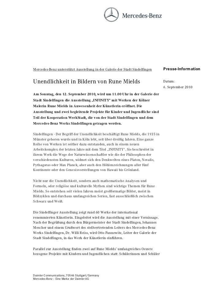 Mercedes-Benz unterstützt Ausstellung in der Galerie der Stadt Sindelfingen         Presse-InformationUnendlichkeit in Bil...