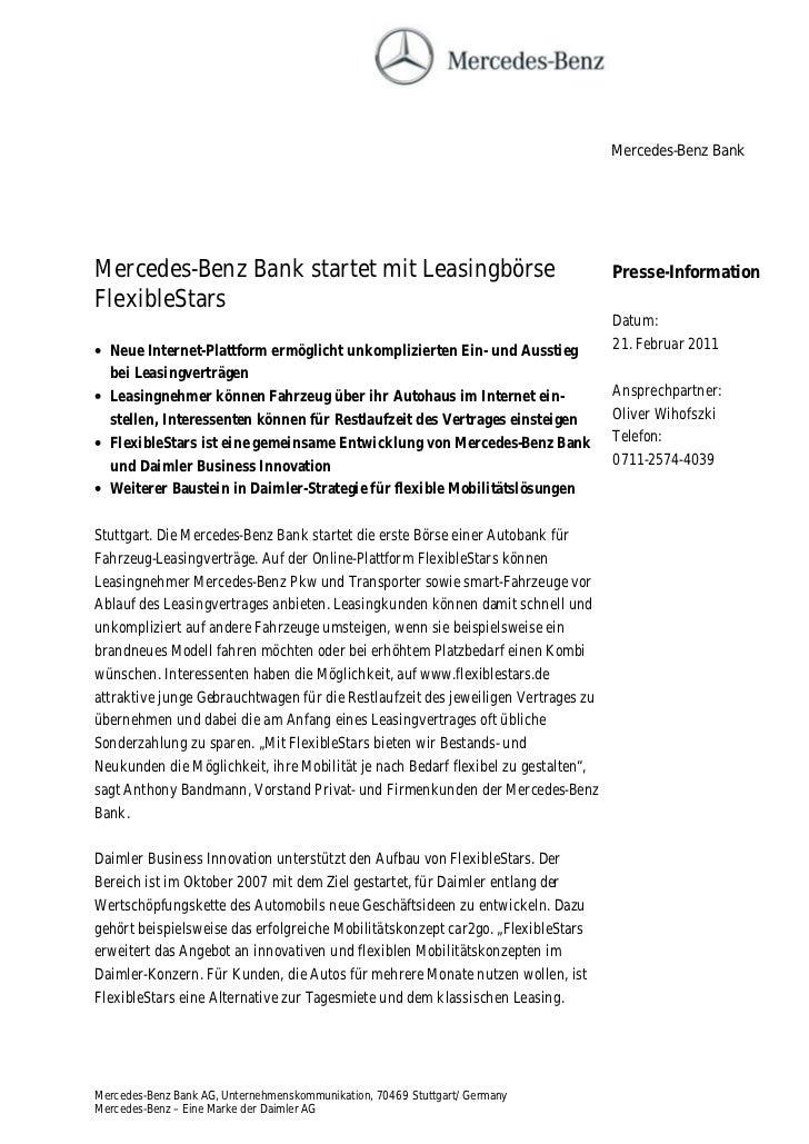 Mercedes-Benz BankMercedes-Benz Bank startet mit Leasingbörse                                        Presse-InformationFle...
