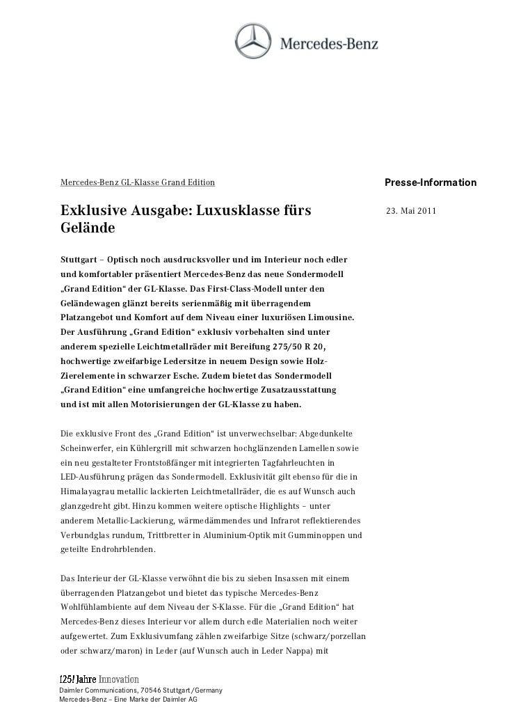 Mercedes-Benz GL-Klasse Grand Edition                                         Presse-InformationExklusive Ausgabe: Luxuskl...