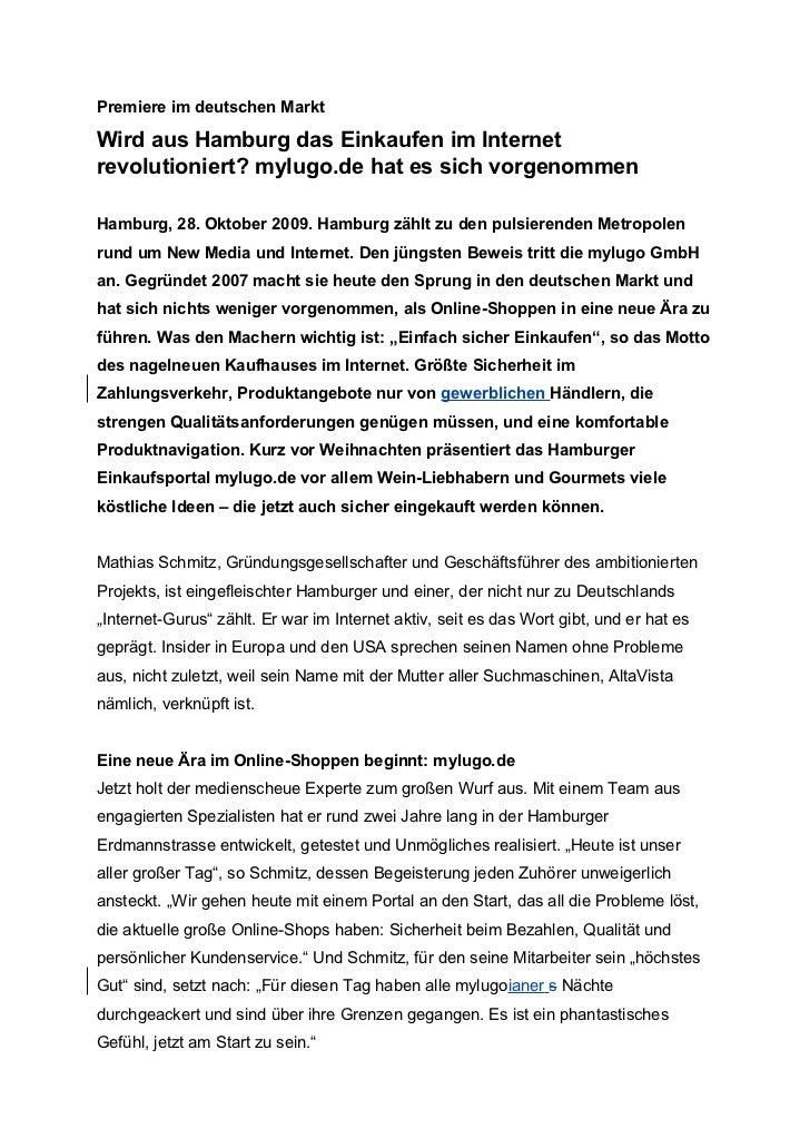 Premiere im deutschen MarktWird aus Hamburg das Einkaufen im Internetrevolutioniert? mylugo.de hat es sich vorgenommenHamb...