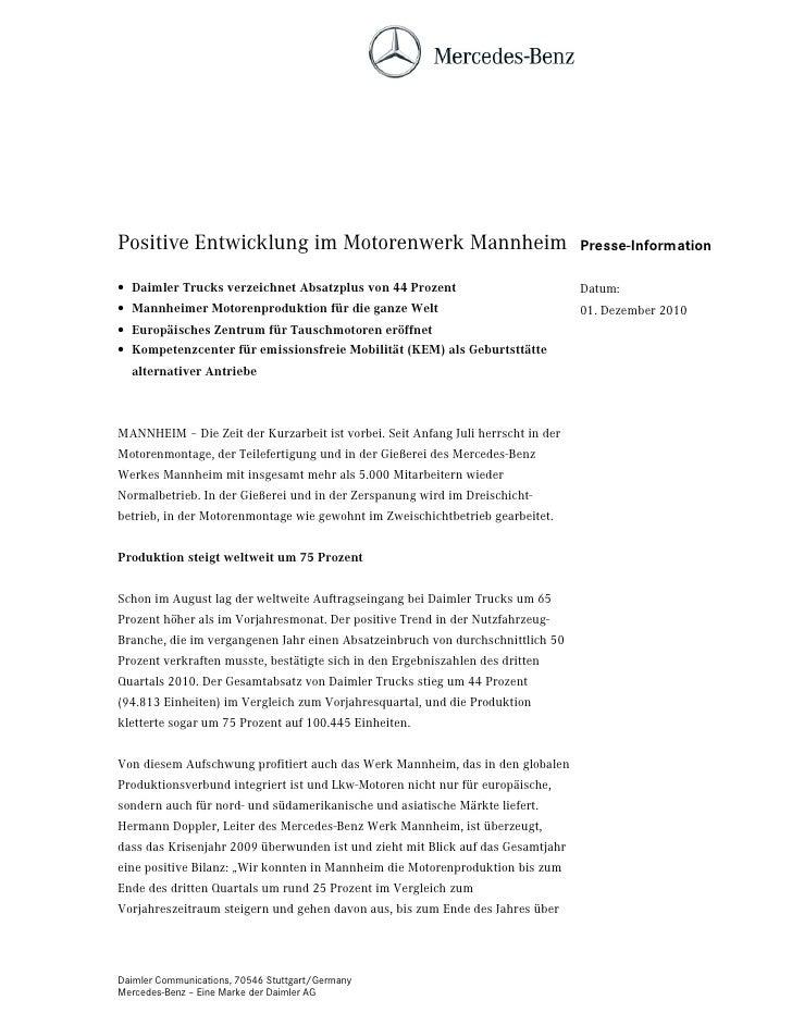 Positive Entwicklung im Motorenwerk Mannheim                                      Presse-Information• Daimler Trucks verze...