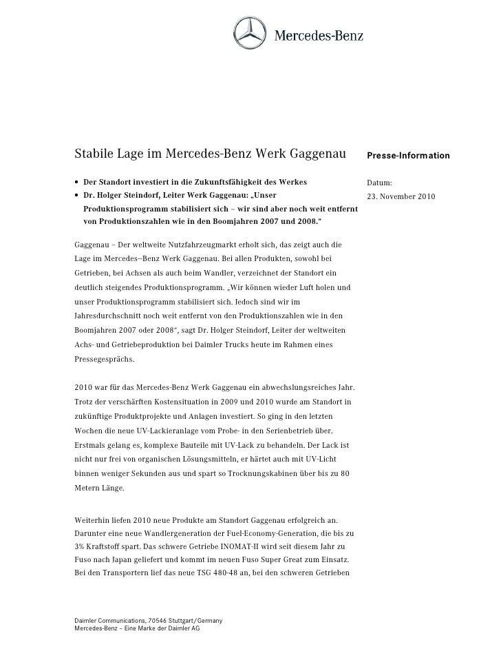 Stabile Lage im Mercedes-Benz Werk Gaggenau                                    Presse-Information• Der Standort investiert...