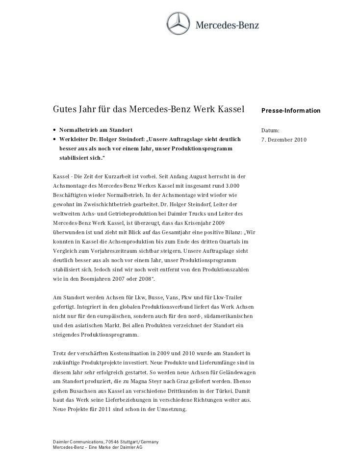 Gutes Jahr für das Mercedes-Benz Werk Kassel                                       Presse-Information• Normalbetrieb am St...