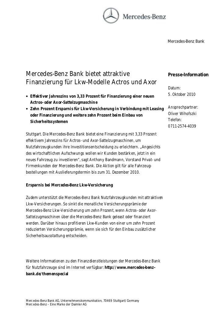 Mercedes-Benz BankMercedes-Benz Bank bietet attraktive                                           Presse-InformationFinanzi...