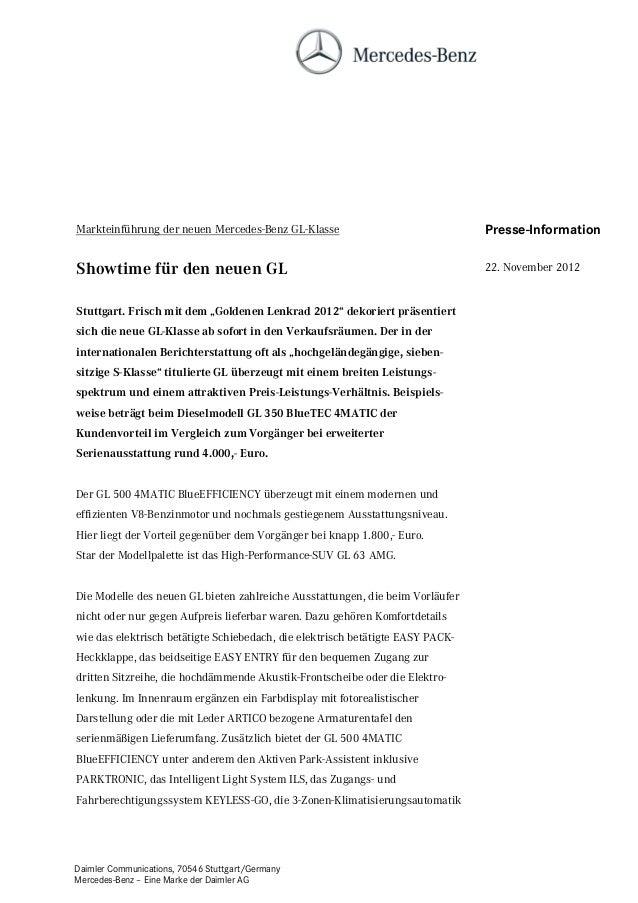 Markteinführung der neuen Mercedes-Benz GL-Klasse                               Presse-InformationShowtime für den neuen G...