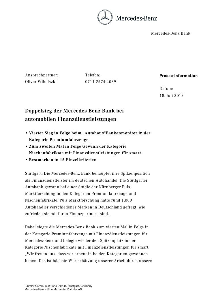 Mercedes-Benz BankAnsprechpartner:                          Telefon:                    Presse-InformationOliver Wihofszki...