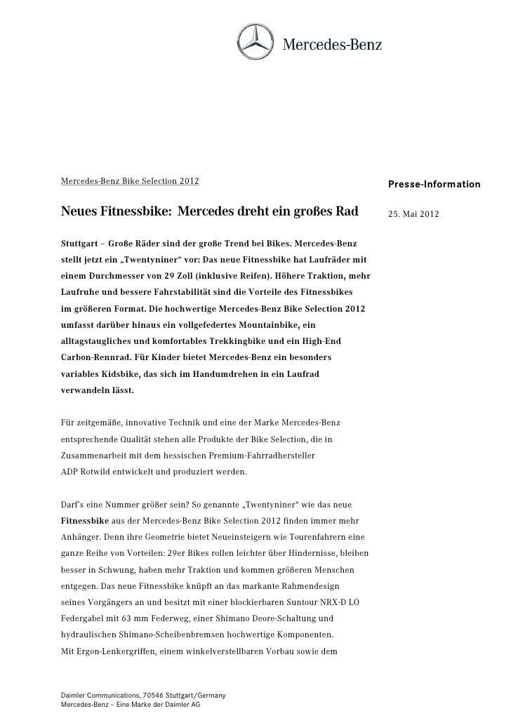Mercedes-Benz Bike Selection 2012                                                 Presse-InformationNeues Fitnessbike: Mer...