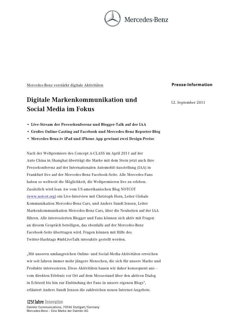 Mercedes-Benz verstärkt digitale Aktivitäten                                 Presse-InformationDigitale Markenkommunikatio...