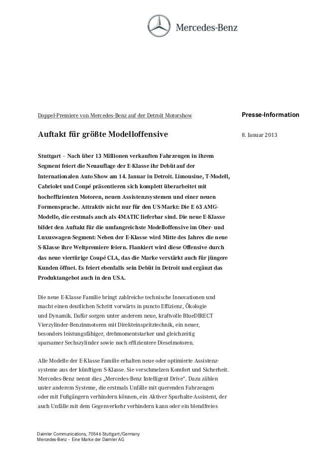 Doppel-Premiere von Mercedes-Benz auf der Detroit Motorshow                    Presse-InformationAuftakt für größte Modell...