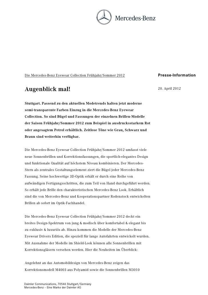 Die Mercedes-Benz Eyewear Collection Frühjahr/Sommer 2012                        Presse-InformationAugenblick mal!        ...