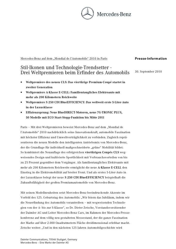 """Mercedes-Benz auf dem """"Mondial de l'Automobile"""" 2010 in Paris                        Presse-InformationStil-Ikonen und Tec..."""