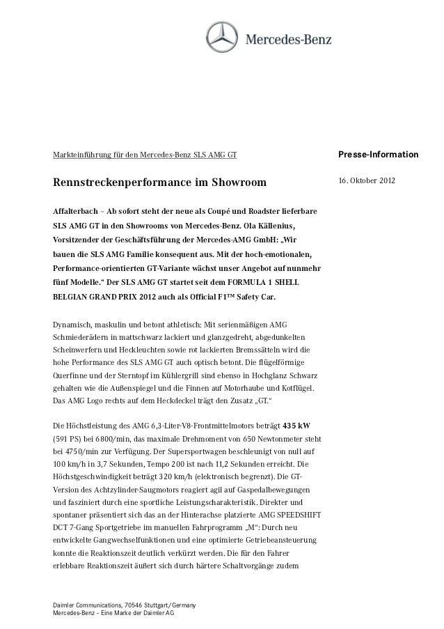 Markteinführung für den Mercedes-Benz SLS AMG GT                              Presse-InformationRennstreckenperformance im...
