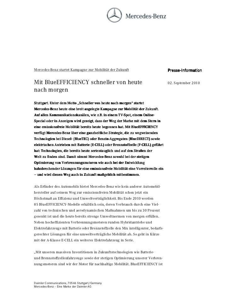 Mercedes-Benz startet Kampagne zur Mobilität der Zukunft                             Presse-Information                   ...