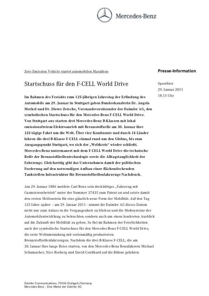 Zero Emission Vehicle startet automobilen Marathon                               Presse-InformationStartschuss für den F-C...