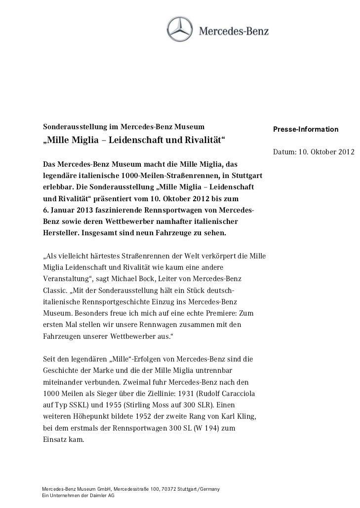 """Sonderausstellung im Mercedes-Benz Museum                                Presse-Information""""Mille Miglia – Leidenschaft un..."""