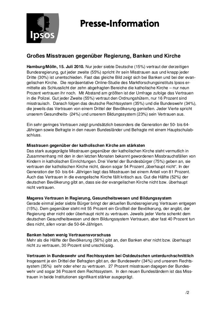 Presse-                             Presse-InformationGroßes Misstrauen gegenüber Regierung, Banken und KircheHamburg/Möll...