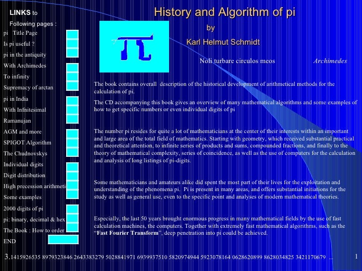 LINKS to                                             History and Algorithm of pi  Following pages :                       ...