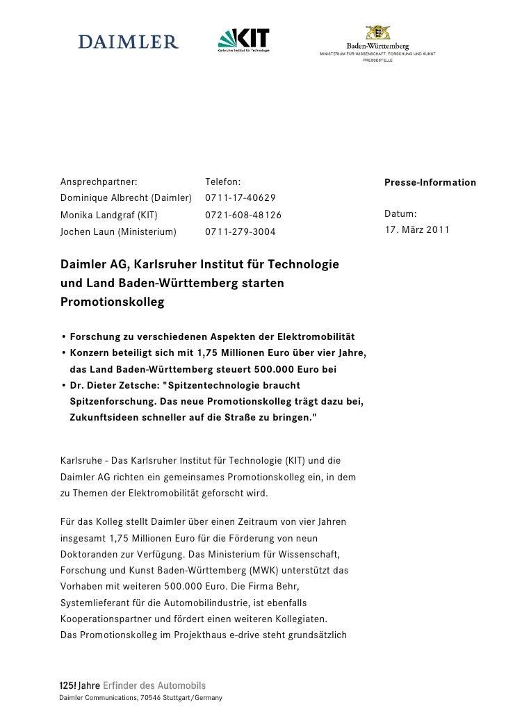 Ansprechpartner:                          Telefon:                  Presse-InformationDominique Albrecht (Daimler)        ...