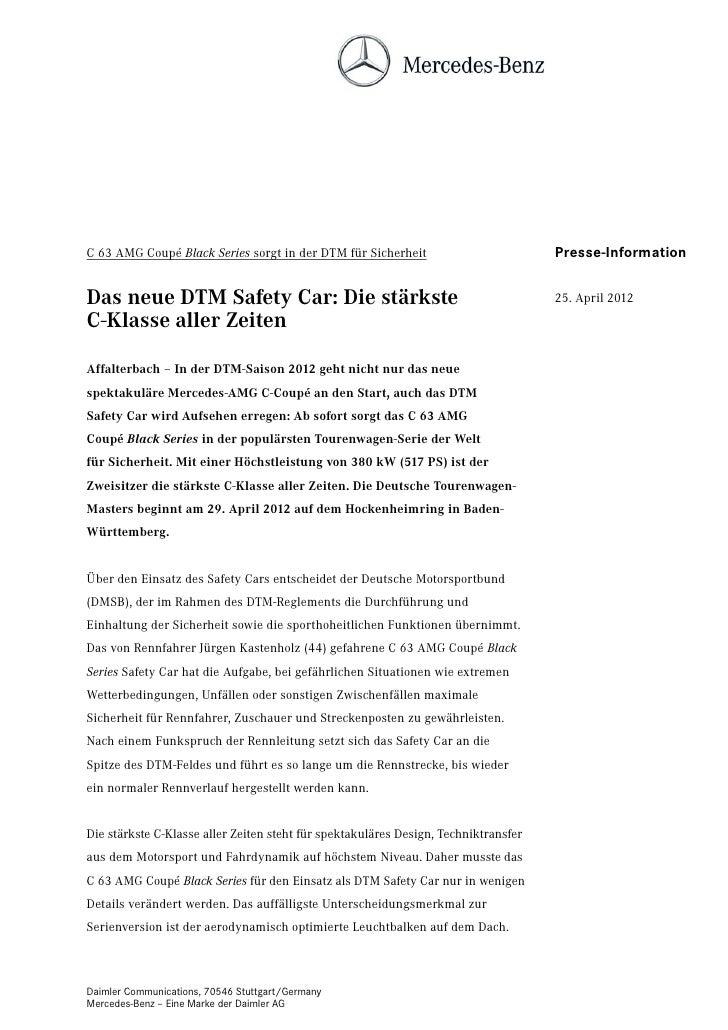 C 63 AMG Coupé Black Series sorgt in der DTM für Sicherheit                          Presse-InformationDas neue DTM Safety...