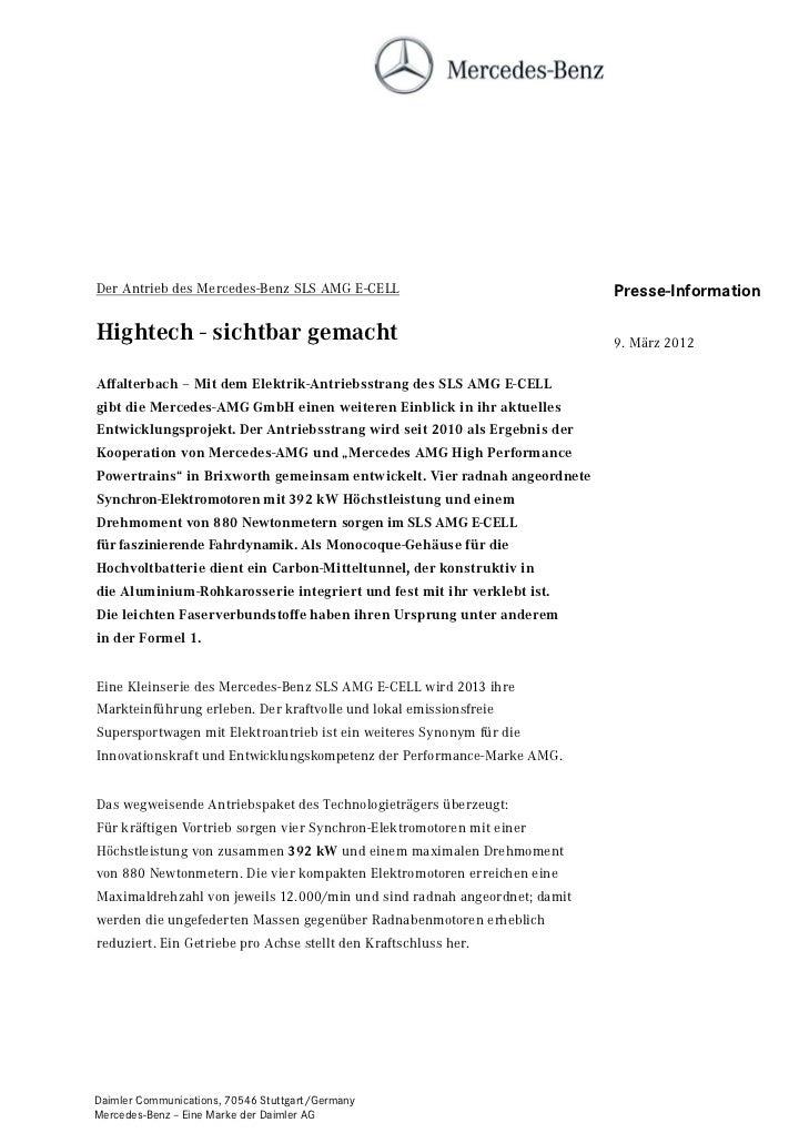 Der Antrieb des Mercedes-Benz SLS AMG E-CELL                               Presse-InformationHightech - sichtbar gemacht  ...