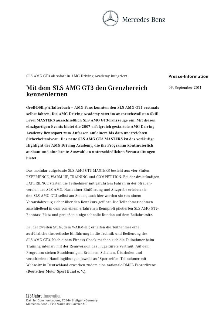 SLS AMG GT3 ab sofort in AMG Driving Academy integriert                       Presse-InformationMit dem SLS AMG GT3 den Gr...