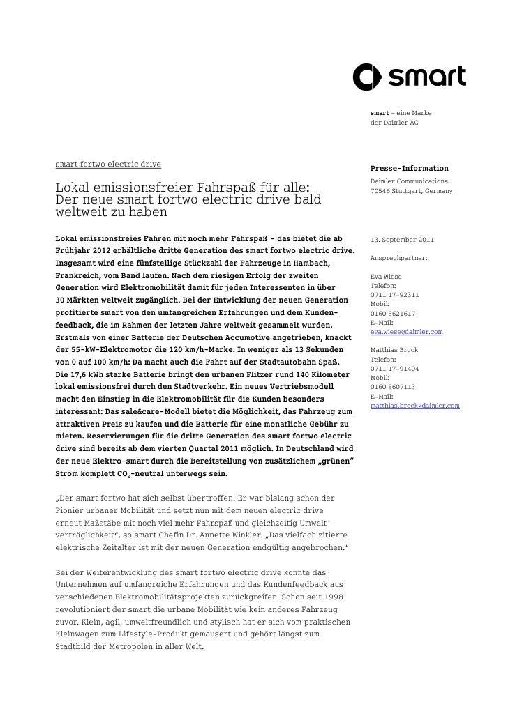 smart – eine Marke                                                                                der Daimler AGsmart fort...