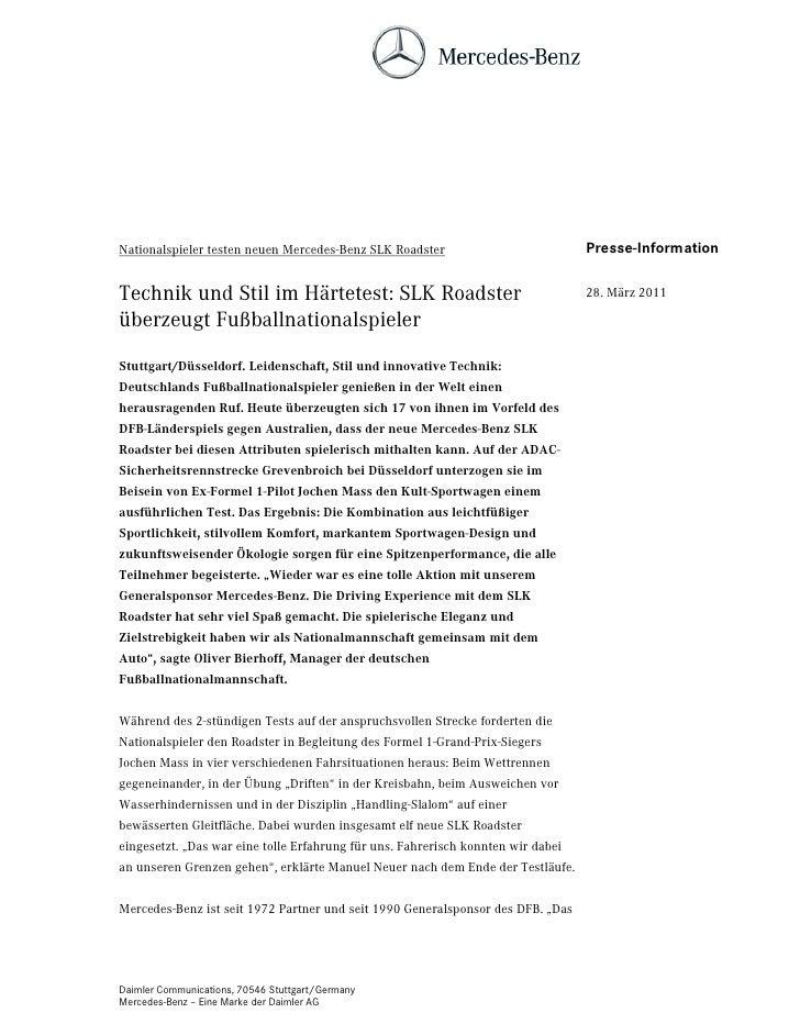 Nationalspieler testen neuen Mercedes-Benz SLK Roadster                           Presse-InformationTechnik und Stil im Hä...