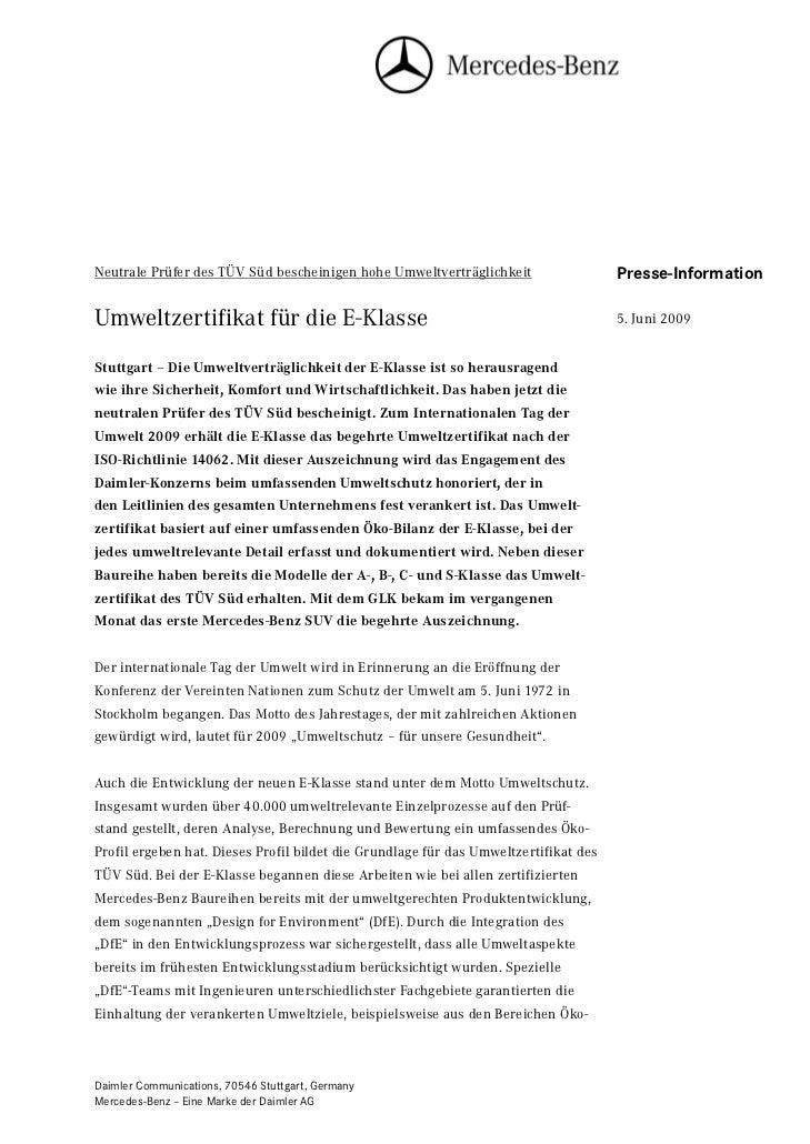 Neutrale Prüfer des TÜV Süd bescheinigen hohe Umweltverträglichkeit                   Seite 1                             ...