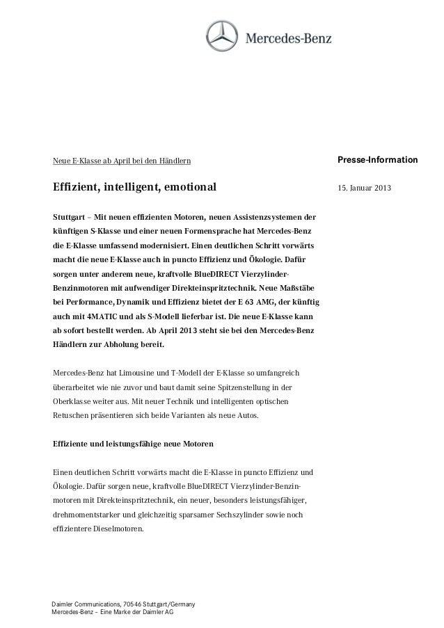 Neue E-Klasse ab April bei den Händlern                                        Presse-InformationEffizient, intelligent, e...