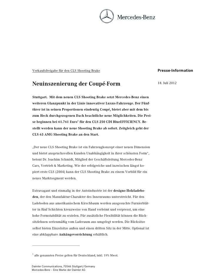 Verkaufsfreigabe für den CLS Shooting Brake                                         Presse-InformationNeuinszenierung der ...